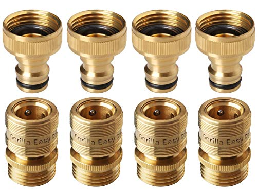 - GORILLA EASY CONNECT Garden Hose Quick Connect Fittings. ¾ Inch GHT Solid Brass. 4 Sets of Male & Female Connectors.