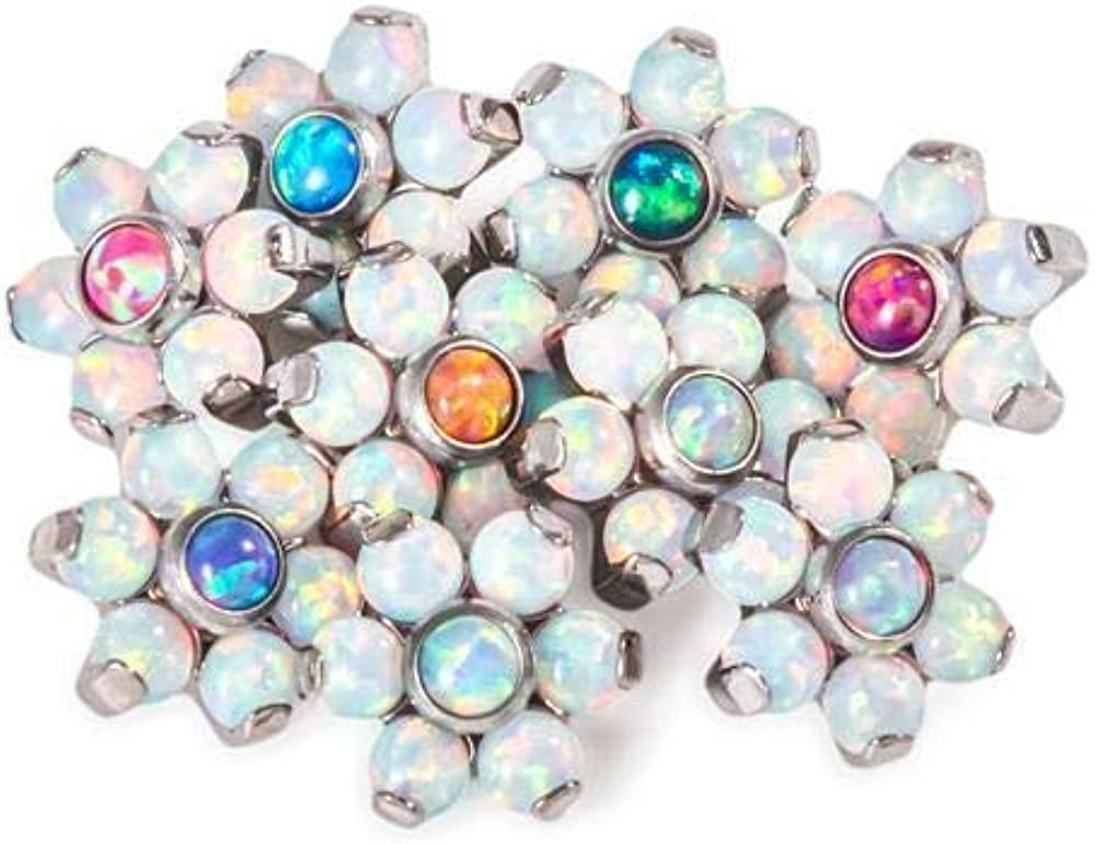 Painful Pleasures 14G-12G Internally Threaded Titanium Opal Flower obere mit White Opal Petals - Price Per 1