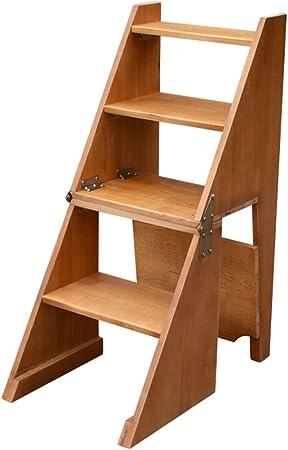 Katxay Taburete multifuncional de madera maciza Taburete doméstico Silla de la escalera de la cocina interior Silla plegable Escalera de 4 capas (Color : Marrón): Amazon.es: Hogar