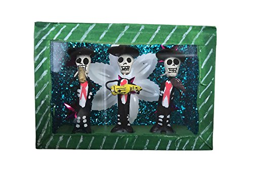 Casa Fiesta Designs Day of the Dead Sugar Skulls Mariachi in a Glass Box - Mexican Decor by Casa Fiesta Designs