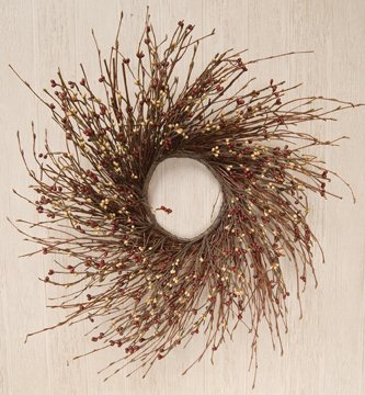 Burgundy Pip Berry Wreath - Burgundy & Old Gold Pip Berry & Twig Wreath Country Primitive Floral Décor