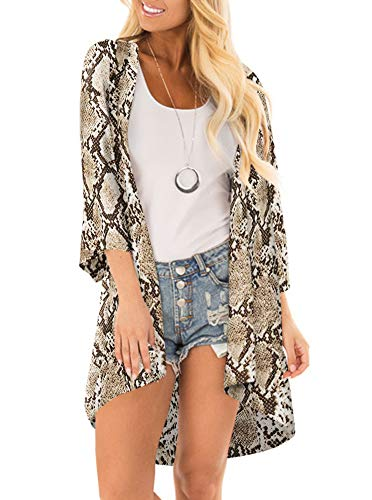 Women Floral Print Kimono Cover Up Sheer Chiffon Blouse Loose Long Cardigan Snake Print_Yellow -