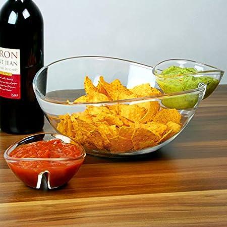 Chip y Dip Tazón con 2 Clip-On Platos Dip Side