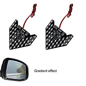 LEADTOPS 2PCS Universal Add On Item Sequential Flashing 33 SMD Yellow Arrow Running LED Lights Bulbs for Side Mirror Turn Signals Rear View Mirror Indicator (33SMD Yellow Light)