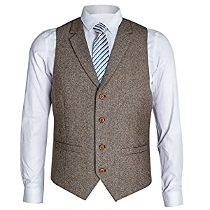 Zicac Men's Notch Lapel Casual Vest Modern Fit Dress Suit Waistcoat