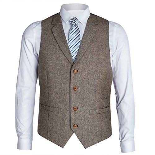 Zicac Men's Notch Lapel Casual Vest Modern Fit Dress Suit Waistcoat (L, Brown) (Lapel Vest Notch)