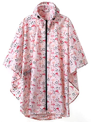 (Unisex Stylish Rain Poncho Zipper Up Raincoats with Pockets for Women/Men Flamingo)