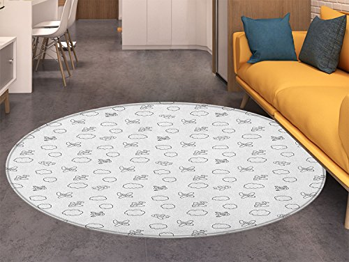 Airplane small round rug Carpet Childish Boys Pattern with Little Aeroplanes and Puffy Clouds in Doodle Style door mat indoors Bathroom Mats Non Slip Black White