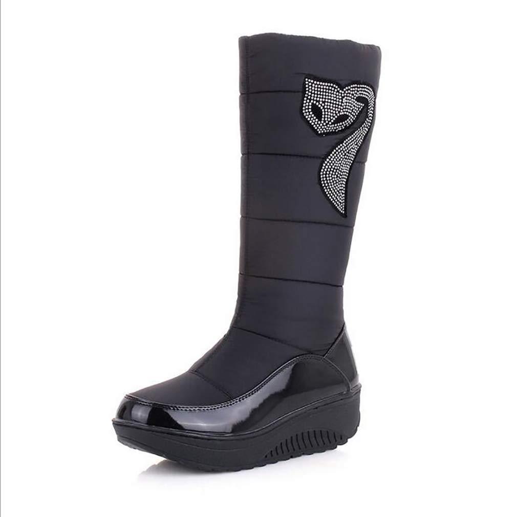 Hy Frauen Winter Stiefel Künstliche PU Flache Schneeschuhe Stiefel Runde Kappe Casual Stiefel/Damen Slip-Ons Skifahren Schuhe Im Freien Snowsports (Farbe : Schwarz, Größe : 35)