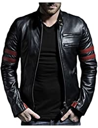 Mens Black Genuine Lambskin Leather Jacket - 1501535