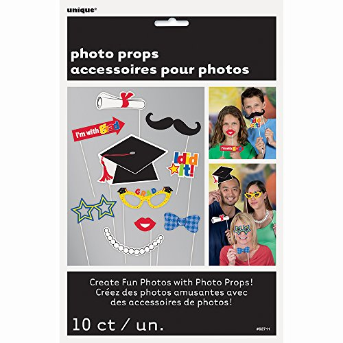 Hilarious Costume Ideas College (Graduation Photo Booth Props Party Decorations Assorted Cut Outs Mustache, Diploma, Bow Tie, Cap, & More Attached to 9 Inch Wooden Sticks - 10 Piece Kit)