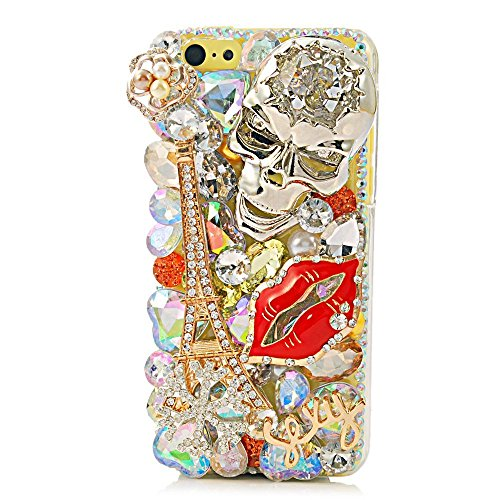 iPhone 6S Plus Bling Case - Fairy Art Luxury 3D Sparkle Series Eiffel Tower Sexy Lips Skull Sexy Crystal Design Back Cover with Soft Wallet Purse Red Cloth Pouch - Silver