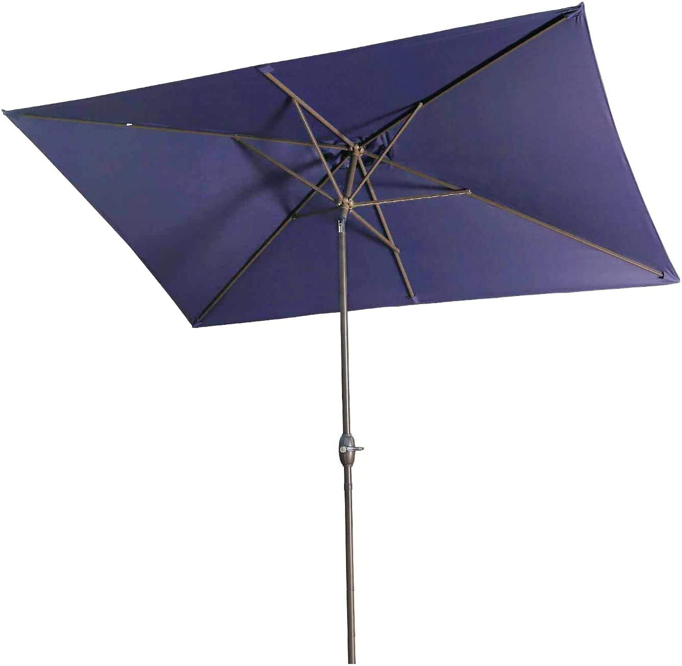 Aok Garden 6.5×10 ft Rectangular Patio Umbrella Outdoor Market Table Umbrella with Tilt and Crank 6 Sturdy Ribs for Deck Lawn Pool, Navy Blue