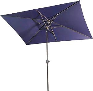 Aok Garden 6.5x10 ft Rectangular Patio Umbrella Outdoor Market Table Umbrella with Tilt and Crank 6 Sturdy Ribs for Deck Lawn Pool, Navy Blue
