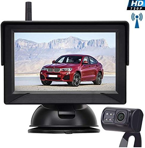 Leekooluu Digital Wireless Backup Camera for Cars Trucks SUVs Pickups,4.3 Monitor High-Speed Observation System, IP69K Waterproof Front Rear View Camera,Super Night Vision,Guild Lines On Off