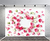 AOFOTO 8x6ft Romantic Pink Roses Photography Background Mother's Day Backdrop Fresh Flower Petals Lovers Couple Lady Woman Girlfriend Baby Mom Artistic Portrait Wedding Photo Studio Props Wallpaper