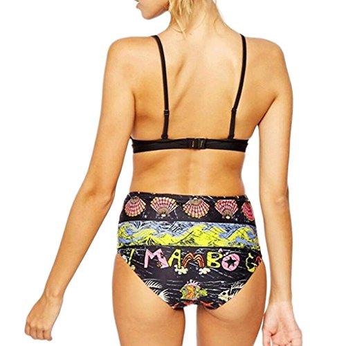 Traje de baño de las señoras Moda traje de baño de impresión de alta cintura Split traje de baño bikini playa traje de baño Spa traje de baño Bikini Negro