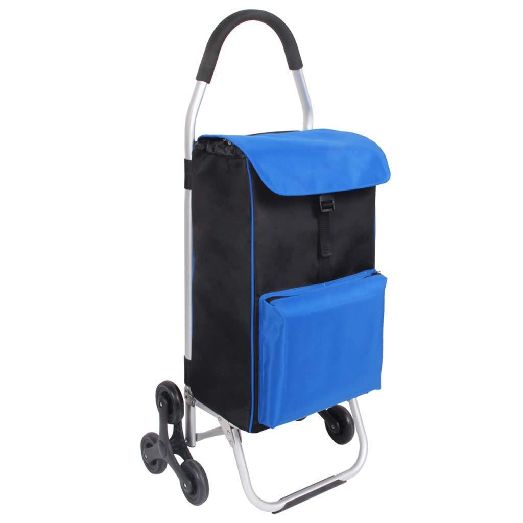 QM-トロリー家庭用アルミ合金ポータブルショッピングカート、折りたたみ食料品の買い物カート、旅行ライト荷物カート、ビルAを登ることができます+(色:青) B07SND84WM Blue