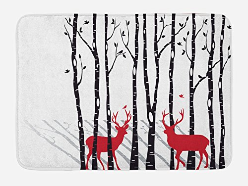 Ambesonne Antlers Bath Mat, Deer Tree Forest with Red Holiday Theme Flying Leaves Branch Reindeer, Plush Bathroom Decor Mat with Non Slip Backing, 29.5 W X 17.5 W Inches, Red (Deer Antler Bath)