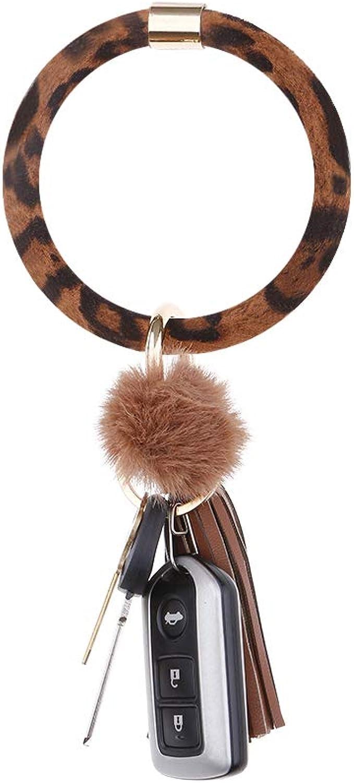 Faux Fur Tail Pendant Large Circle Wristlet Keychain key Holder Bag Accessories