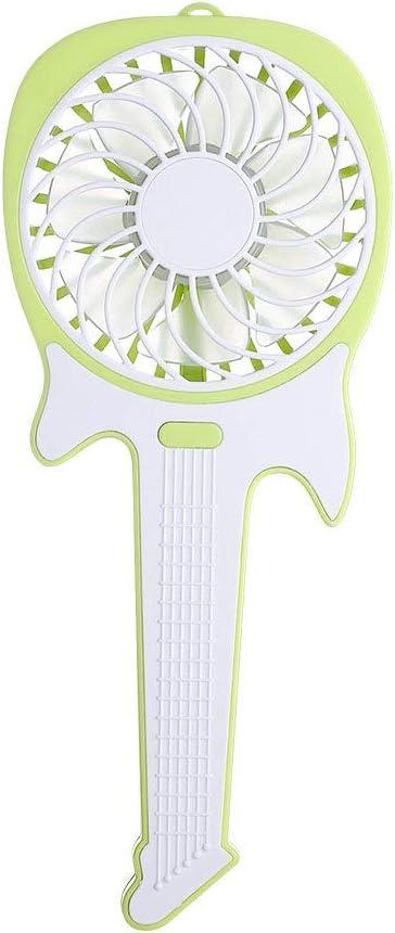 Quiet Operation Dygzh Mini Desktop Personal Fan Handheld Mini Guitar Fan 3 Speed USB Handheld Personal Fan Rechargeable Battery 1200mAh Electric Pocket Fan Strong Wind in The Home Office