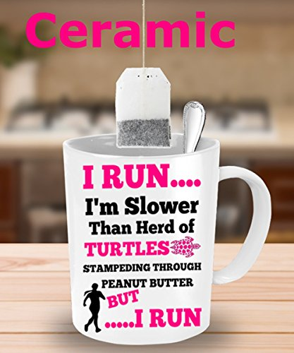 BEST FUNNY GIFTS Runners ~ White-Ceramic coffee mug-funny-best-personalized-birthday gifts for men-women-girls/boys- present for - Staff Walking Travel Tracks