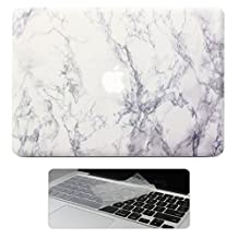 "Macbook Pro 15 Retina Case, Rinbers Hard Shell Case Print Frosted with Matching Keyboard Skin for MacBook Pro 15"" with Retina Dislay NEWEST VERSION A1398 White Marble Pattern Rubber Coated Cover"