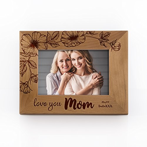 Engravable Wood Picture Frames - Personalized Picture Frame for Mother I Love You Mom Customizable with Names and Date Mothersday Gift | Size Options 4x6, 5x7, 8x10 - Free Engraving Made to Order #F11