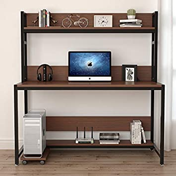 Tribesigns 55 Inches Large Computer Desk with Hutch, Modern Writing Desk with Bookshelf, PC Laptop Study Table Workstation for Home, Cherry Brown Black Legs