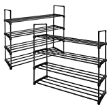 TomCare 2 Pack 4-Tier Shoe Rack Stackable Shoe Tower Cabinet Shoe Shelves Shoe Storage Organizer Metal Structure Holds 20 Pairs Shoes for Doorway Bedroom Closet Entryway Black