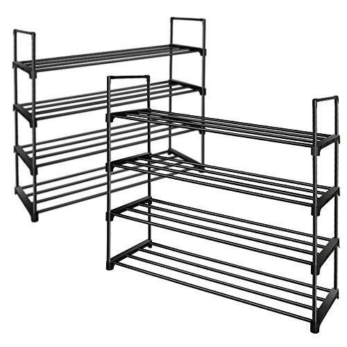 Tier Stackable Shoe Rack (TomCare 4 Tier Shoe Rack Stackable Shoe Tower Cabinet Shoe Shelves Shoe Storage Organizer Metal Structure Holds 20 Pairs Shoes for Doorway Bedroom Closet Entryway Black (2 Pack))