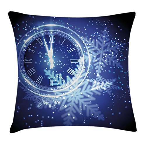 Ambesonne Clock Decor Throw Pillow Cushion Cover, Countdown to New Year Theme A Clock Holiday Lights and Snowflakes Pattern Design, Decorative Square Accent Pillow Case, 16 X 16 Inches, Blue
