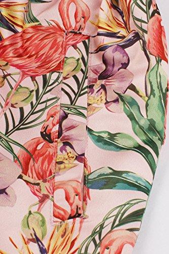Imprime Rockabilly Jupe avec Oiseau Pliss Florale Femme Vintage 50 Swing anne MisShow Poche wxXqYdRq