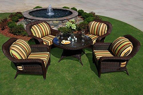 Tortuga Outdoor Garden Patio Lexington 5-Piece Conversation Table Set 4 club chairs, 1 conv. table - - Tortuga Club Lexington Chair