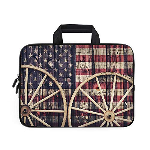 Western Laptop Carrying Bag Sleeve,Neoprene Sleeve Case/Big Antique Cart Carriage Wheels with American Flag in Retro Vintage Colors New World Print/for Apple Macbook Air Samsung Google Acer HP DELL Le (Battery Cart Print)