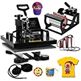VEVOR Heat Presses 15 X 15 Inch 8 in 1 Digital Multifunctional Sublimation T Shirt Heat Press Machine 360 Degree Rotation Heat Press Machine for T Shirts Hat Mug Plate (15x15INCH 8IN1 Auto-Countdown)