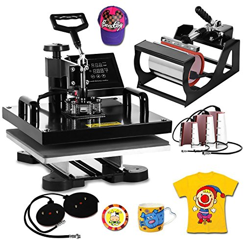 VEVOR Heat Press Machine15x15inch 8 in 1 Digital Multifunctional Sublimation Auto-Countdown Heat Presser for T Shirts Hat Mug (Black, 15x15INCH/8IN1)