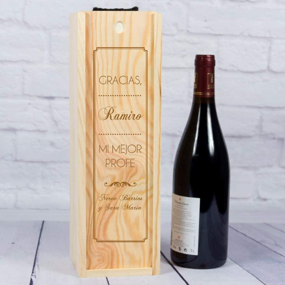 Regalo Personalizado de Fin de Curso: Botella de Vino con Etiqueta Personalizada para Profesores (Caja Madera 1 Botella): Amazon.es: Hogar