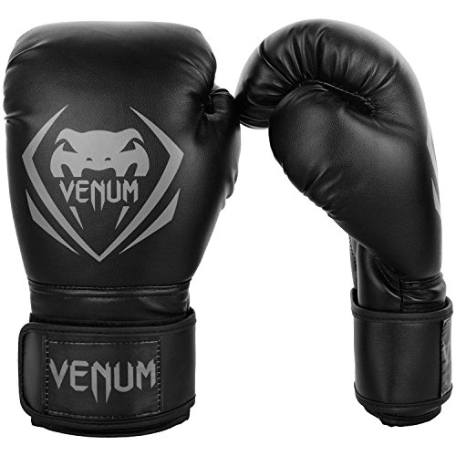 Venum Contender Boxing Gloves - Black/Grey - 14-Ounce ()