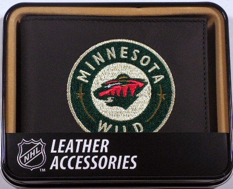 (Rico Industries NHL Minnesota Wild Embroidered Leather Billfold Wallet)