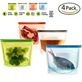 reusable freezer bags silicone - Silicone Food Bag, Reusable Airtight Seal Food Storage Container Reusale Freezer Leak-Proof Cooking Ziploc Bag Versatile Kitchen Utensil Set Of 4 Pcs for Freeze, Steam, Heat, Microwave