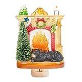 Sleeping Winter Bear by Fireplace 6 x 4 Inch