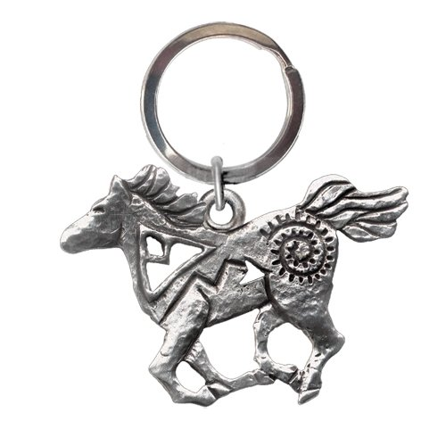 1pc, Pewter Pony Fetish Key Chain