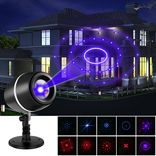 Laser Christmas Light Projector, LESHP Projector Lights Laser Lights Moving Galaxy Show Spotlights Outdoor Decorations for Christmas Party, Holiday, Birthday, Stage Light (Red-Blue)