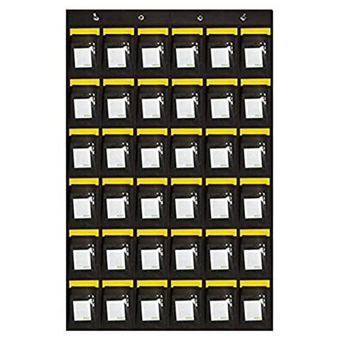 Loghot Numbered Classroom Sundries Closet Pocket Chart for Cell Phones Holder Wall Door Hanging Organizer (36 Pockets with Cards)
