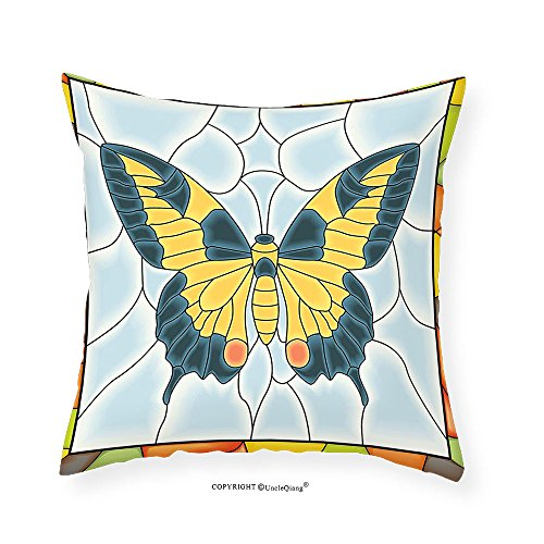 VROSELV Custom Cotton Linen Pillowcase Butterflies Decoration Butterfly In Stained-Glass Window With Frame Wing Spring Garden Illustration Bedroom Living Room Dorm Decor - Alsina August Glasses