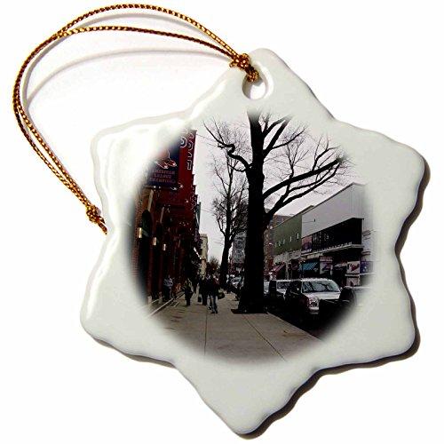 Fenway Park Ornament - 3dRose Lenas Photos - Boston - Boston fans walking by the gorgeous Fenway Park - 3 inch Snowflake Porcelain Ornament (orn_59201_1)