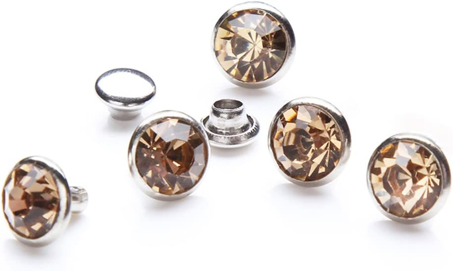 100 Sets Cz Colorful Crystal Rapid Rivets Silver Color Spots Studs Double Cap for DIY Leather-Craft Light Siam, 8MM