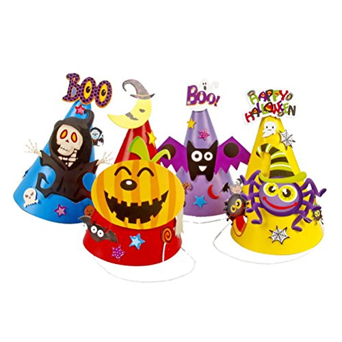 Fundic Halloween Costume Hats DIY Cardboard Party Props for Kids, Including 4 Different Designs -