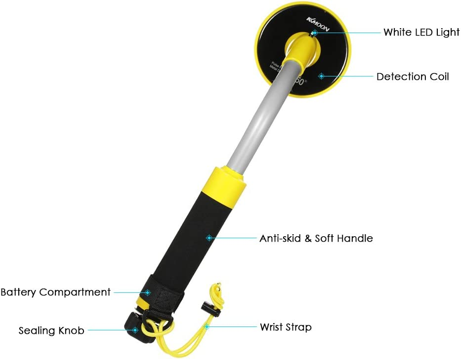 Festnight High Sensibility 98ft Waterproof Handheld Pinpointer Pulse Induction Metal Detector Precise Direction PI Technology Underwater Finding Treasure